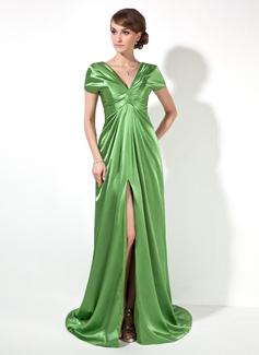 A-Linie/Princess-Linie V-Ausschnitt Hof-schleppe Charmeuse Abendkleid mit Rüschen Schlitz Vorn (017022522)