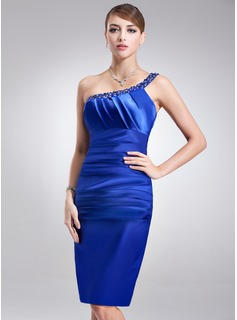 Sheath One-Shoulder Knee-Length Charmeuse Cocktail Dress With Ruffle Beading (016002920)
