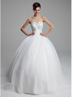 Ball-Gown Sweetheart Court Train Satin Organza Wedding Dress With Ruffle Lace Beading (002011973)