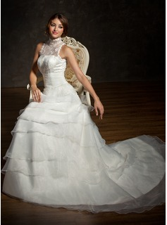 A-Line/Princess High Neck Chapel Train Organza Satin Lace Wedding Dress With Ruffle Beading (002001235)