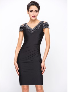 Sheath/Column Off-the-Shoulder Knee-Length Jersey Cocktail Dress With Beading Sequins (016055952)
