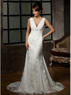 Wedding Dresses Mermaid V-neck Court Train Chiffon Tulle Wedding Dress With Ruffle Lace (002000583)