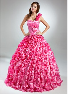 Duchesse-Linie One-Shoulder-Träger Bodenlang Taft Quinceañera Kleid (Kleid für die Geburtstagsfeier) mit Perlen verziert Blumen Gestufte Rüschen (021015577)