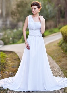 Forme Princesse Encolure asymétrique Traîne mi-longue Mousseline Robe de mariée avec Plissé Emperler Motifs appliqués Dentelle (002011709)