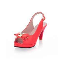Leatherette Chunky Heel Peep Toe Platform Slingbacks Sandals With Bowknot Buckle (085022845)