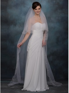One-tier Cathedral Bridal Veils With Cut Edge (006013295)