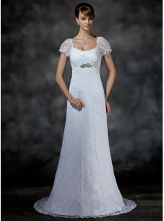 Empire Scoop Neck Sweep Train Satin Lace Wedding Dresses With Beadwork (002000214)