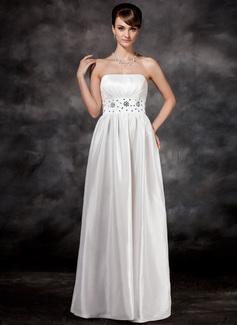 Forme Princesse Sans bretelle Longueur ras du sol Taffeta Robe de mariée avec Plissé Emperler (002001592)