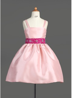 A-Line/Princess Knee-length Flower Girl Dress - Taffeta Sleeveless Straps With Sash/Beading/Sequins (010007565)