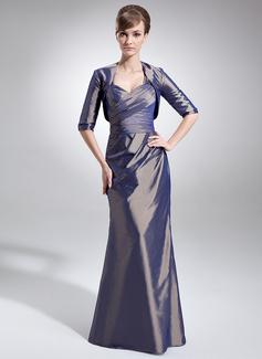 Trompete/Meerjungfrau-Linie Herzausschnitt Bodenlang Taft Kleid für die Brautmutter mit Rüschen (008006090)