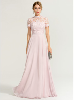 A-Linie/Princess-Linie High Neck Bodenlang Chiffon Abendkleid (017167675)