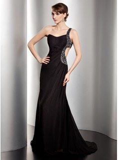A-Line/Princess One-Shoulder Sweep Train Chiffon Evening Dress With Ruffle Beading Sequins (017014486)