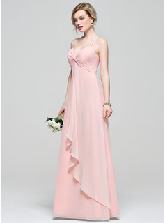 Empire Halter Floor-Length Chiffon Bridesmaid Dress With Cascading Ruffles (007083684)