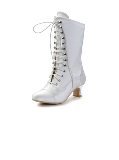Women's Satin Chunky Heel Boots Closed Toe (047033113)