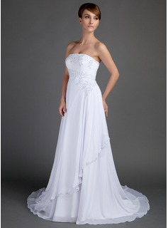 A-Lijn/Prinses Strapless Hof sleep De Chiffon Bruidsjurk met Kralen Applicaties Kant (002012572)