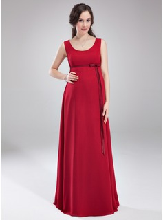 Empire Scoop Neck Floor-Length Chiffon Maternity Bridesmaid Dress With Bow(s) (045004414)