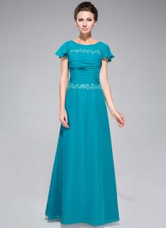 Etui-Linie U-Ausschnitt Bodenlang Chiffon Kleid für die Brautmutter mit Rüschen Spitze Pailletten (008042312)