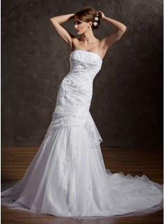 Trumpet/Mermaid Strapless Chapel Train Organza Satin Wedding Dress With Beading Appliques Lace Cascading Ruffles (002000598)