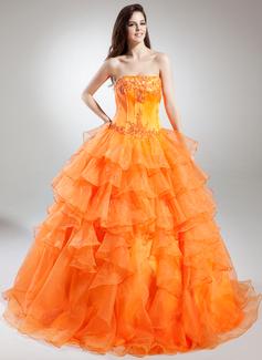 Duchesse-Linie Trägerlos Bodenlang Organza Quinceañera Kleid (Kleid für die Geburtstagsfeier) mit Perlen verziert Applikationen Spitze Gestufte Rüschen (021015848)