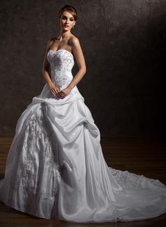 Ball-Gown Sweetheart Chapel Train Taffeta Wedding Dress With Embroidered Ruffle Beading (002012669)