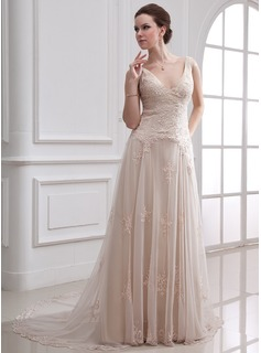 A-Line/Princess V-neck Court Train Satin Tulle Wedding Dress With Lace Beading (002000313)