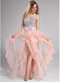 A-Line/Princess Sweetheart Floor-Length Organza Prom Dress With Beading Bow(s) Cascading Ruffles (018025274)