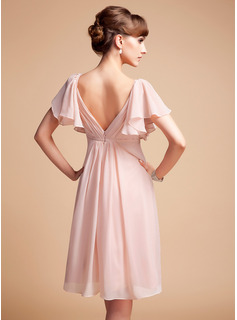 Empire Sweetheart Knee-Length Chiffon Bridesmaid Dress With Ruffle (007004126)