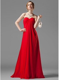 Cheap Bridesmaid Dresses Empire Sweetheart Floor-Length Chiffon Bridesmaid Dress With Ruffle Beading (007001058)