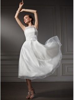 A-Line/Princess Scoop Neck Tea-Length Organza Satin Wedding Dress With Flower(s) (002021079)