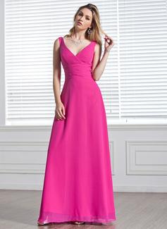 A-Line/Princess V-neck Floor-Length Chiffon Bridesmaid Dress With Ruffle (007001819)