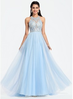 A-Line Scoop Neck Sweep Train Tulle Prom Dresses With Beading Sequins (018187215)