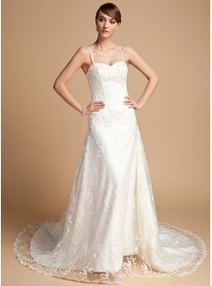 A-Line/Princess Sweetheart Chapel Train Satin Lace Wedding Dress With Beading (002014722)
