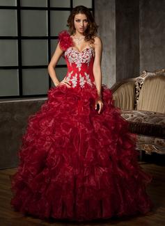 Duchesse-Linie Eine Schulter Bodenlang Organza Quinceañera Kleid (Kleid für die Geburtstagsfeier) mit Perlstickerei Applikationen Spitze Pailletten Gestufte Rüschen (021020578)