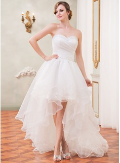 A-Line/Princess Sweetheart Asymmetrical Organza Wedding Dress With Ruffle Beading Sequins (002031874)
