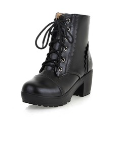 Leatherette Chunky Heel Ankle Boots shoes (088033506)