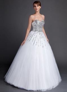 Duchesse-Linie Herzausschnitt Bodenlang Tüll Pailletten Quinceañera Kleid (Kleid für die Geburtstagsfeier) (021015871)