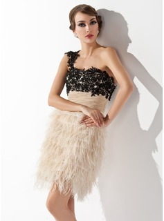 Sheath One-Shoulder Short/Mini Chiffon Lace Feather Cocktail Dress With Ruffle Beading Sequins (016008351)