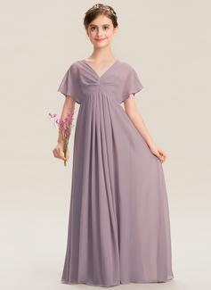 A-Linie V-Ausschnitt Bodenlang Chiffon Kleid für junge Brautjungfern mit Rüschen (009173299)