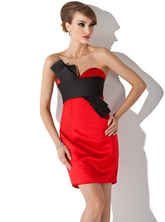 Forme Fourreau Bustier en coeur Court/Mini Satiné Robe de cocktail avec Ceintures (016021156)