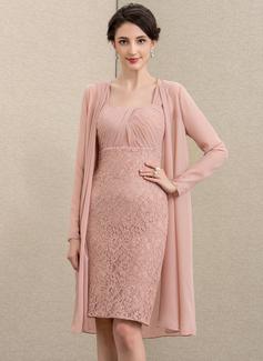 Etui-Linie Schatz Knielang Chiffon Spitze Kleid für die Brautmutter (008195378)