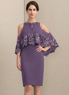 Etui-Linie U-Ausschnitt Knielang Chiffon Pailletten Kleid für die Brautmutter mit Perlstickerei (008164055)