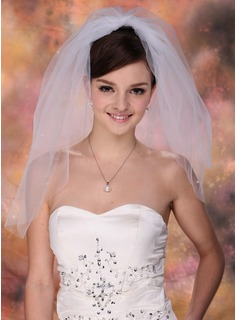 Two-tier Blusher Bridal Veils With Cut Edge (006003767)
