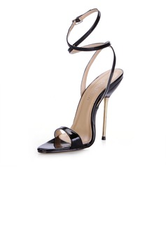 Patent Leather Stiletto Heel Slingbacks Sandals (087025075)