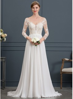 A-Line/Princess V-neck Court Train Chiffon Wedding Dress (002171959)