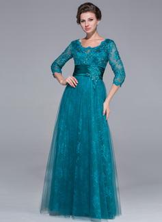 A-Linie/Princess-Linie U-Ausschnitt Bodenlang Tüll Spitze Kleid für die Brautmutter mit Rüschen Perlstickerei Pailletten (008025713)