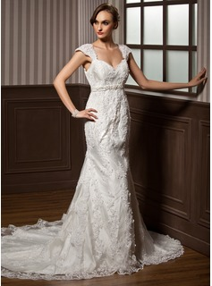 Trumpet/Mermaid Sweetheart Chapel Train Tulle Wedding Dress With Beading Appliques Lace Bow(s) (002011374)