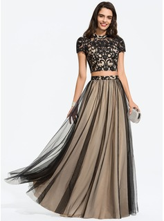 A-Line Scoop Neck Floor-Length Tulle Prom Dresses (018187189)