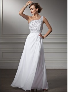 A-Line/Princess One-Shoulder Floor-Length Chiffon Prom Dress With Beading Sequins (018013820)