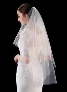 Zweischichtig Schnittkante Ellenbogen Braut Schleier (006201030)