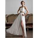 A-Line/Princess One-Shoulder Floor-Length Chiffon Prom Dresses With Ruffle Beading Sequins Split Front (018020706)